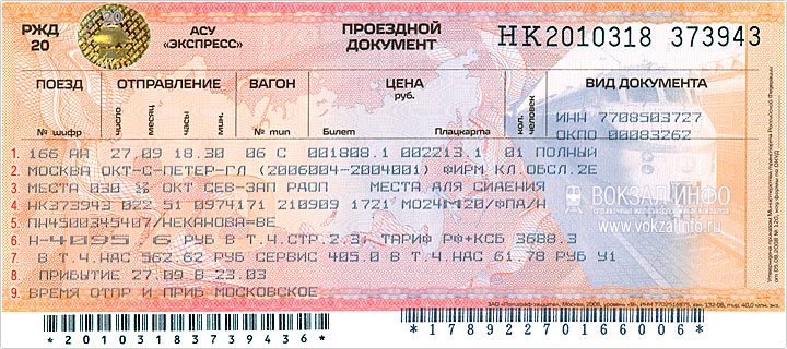 электронные билеты РЖД