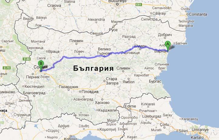 Схема маршрута Варна-София