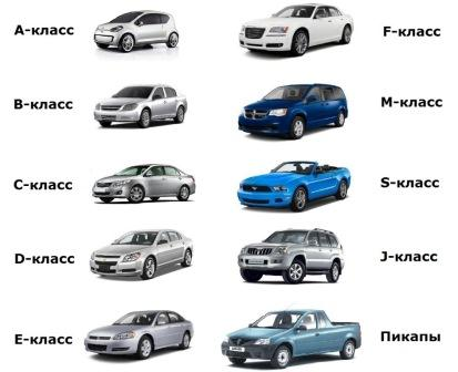 Разновидность автомобилей за классами